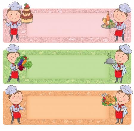 alimentos y bebidas: Peque�o cocinero con los alimentos y comidas. Contiene los objetos transparentes. Vectores