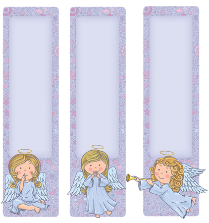 Vertical banner with cute angels. Contains transparent objects. Vector