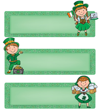 Happy St. Patrick horizontal banners. Contains transparent objects.  Vector