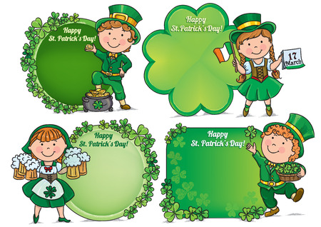 Happy St. Patricks Day greeting banners. Contains transparent objects.  Vector