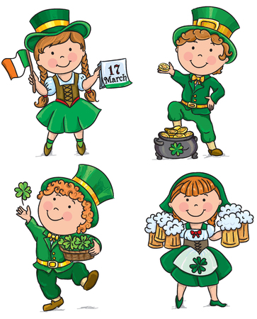 St. Patricks Day cute kids. Contains transparent objects.  Vector