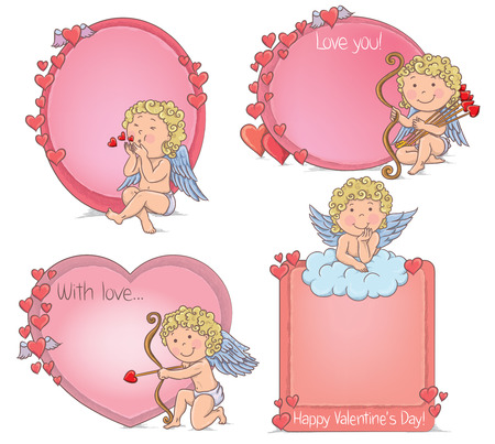 Vignettes Valentines Day. Contains transparent objects.  Vector