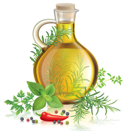 Olive oil with spices and herbs Vector