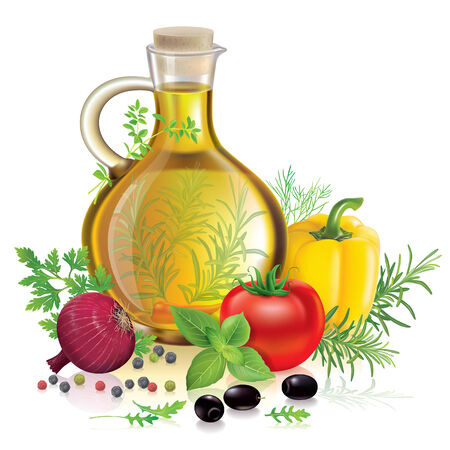 Olive oil and vegetables Vector