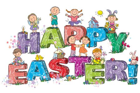 Happy Easter kids on letters Vector