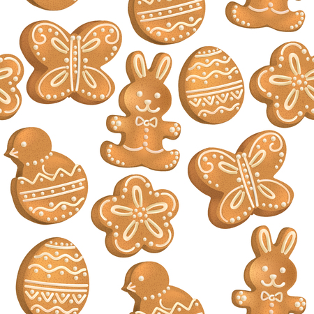Seamless pattern of Easter cookies Vector