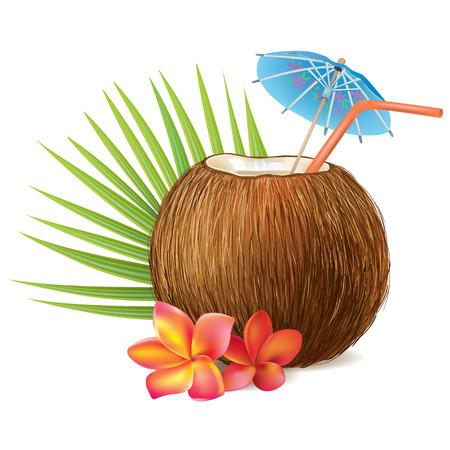 ココナッツの飲み物。透明なオブジェクトが含まれています。EPS10  イラスト・ベクター素材