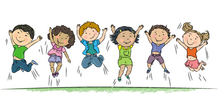 kids drawing: Happy children jumping.Contains transparent objects. EPS10