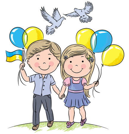 Children with balloons and flag. Contains transparent objects. EPS10 Vector