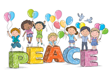 Children on the word peace. Contains transparent objects. EPS10 Vector