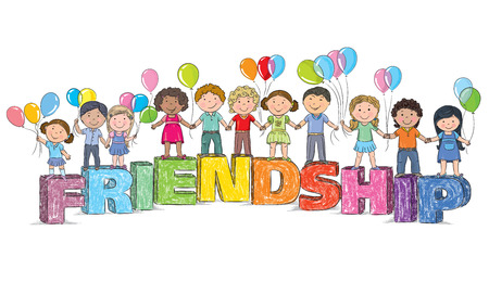 Children on the word friendship. Contains transparent objects. EPS10 Vector