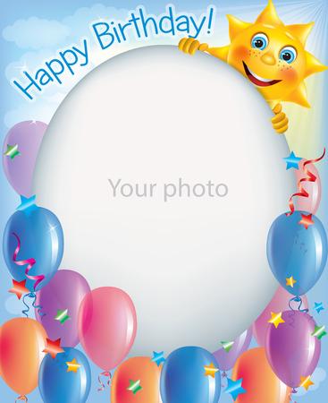 Marcos de cumpleaños para las fotos 2. Contiene objetos transparentes. Foto de archivo - 29427318