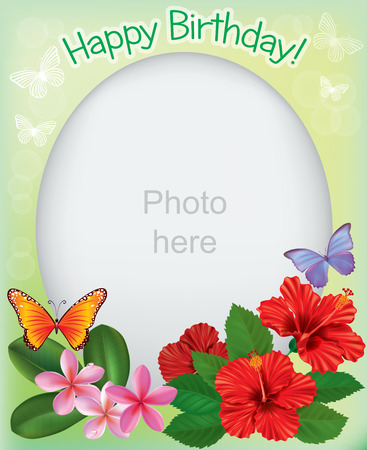 pink plumeria: Birthday frames for photos. Contains transparent objects.