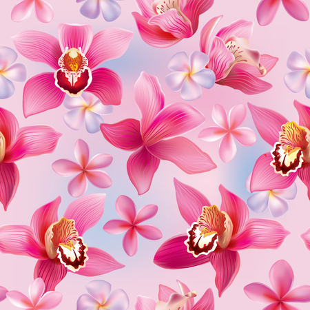 Seamless pattern with orchids and frangipani. Contains transparent objects.  Vector