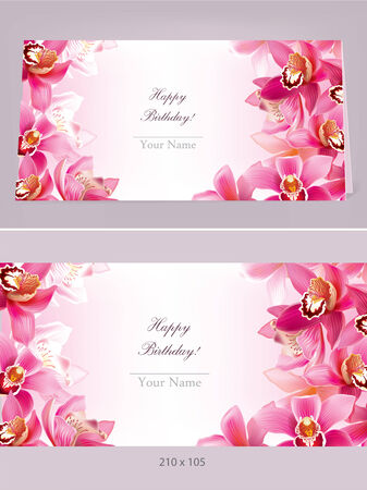 exoticism: Stylish birthday horizontal card with orchid. Contains transparent objects.