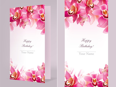 exoticism: Stylish birthday card with orchid. Contains transparent objects.