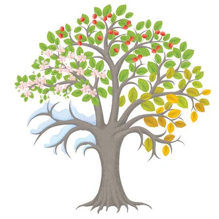 四季の木。透明なオブジェクトが含まれています。EPS10
