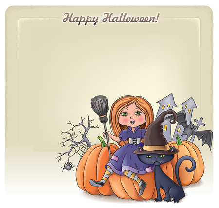 Happy Halloween background 3. Contains transparent objects.  Vector