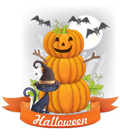 Halloween greeting card. Contains transparent objects. EPS10 Vector