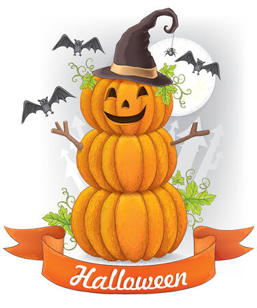 harvest moon: Halloween card. Contains transparent objects.