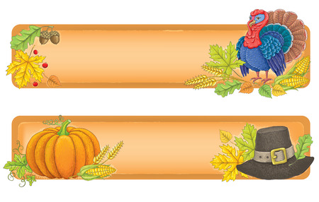 food banner: Thanksgiving banners. Contains transparent objects.