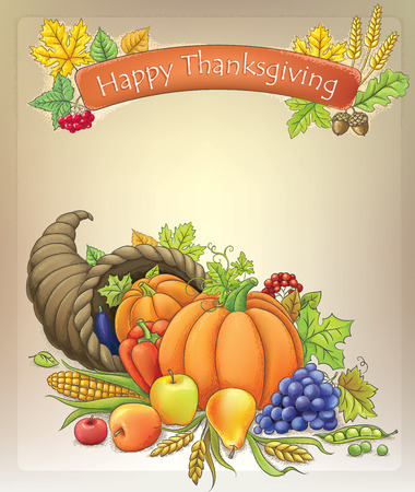 harvest cone cornucopia: Background with happy thanksgiving fruits