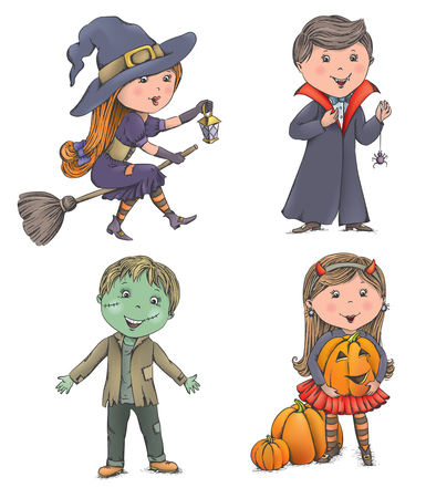 girl happy: Halloween kids