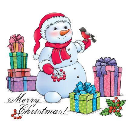 mountain ash: Snowman with Christmas.  Illustration