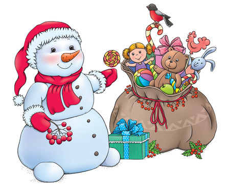 Snowman with Christmas gifts.  Vector