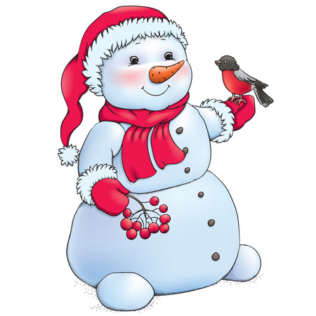 Snowman Contains transparent objects.  Vector