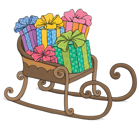 santa sleigh: Santa sleigh. Contains transparent objects. EPS10 Illustration