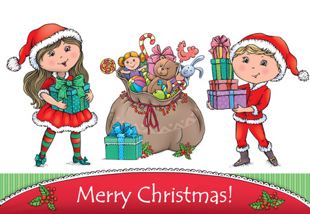 bear berry: Merry Christmas greeting card. Contains transparent objects. EPS10 Illustration