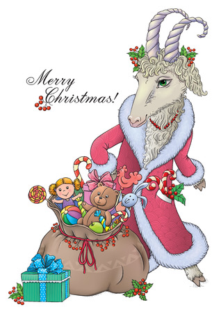 chinese holly: Goat wishes Merry Christmas.  Contains transparent objects. EPS10