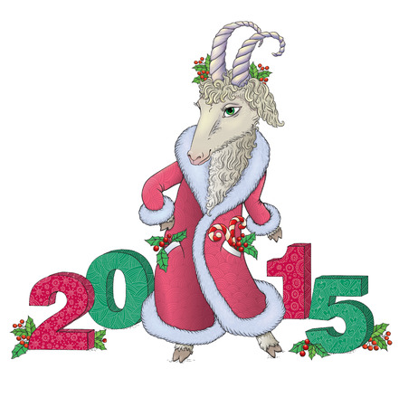 chinese holly: New year 2015.  Contains transparent objects. EPS10