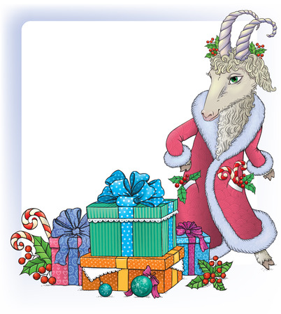chinese holly: Christmas background with goat.  Contains transparent objects. EPS10 Illustration