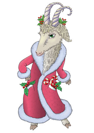 chinese holly: Goat in Santa coat. Contains transparent objects. EPS10
