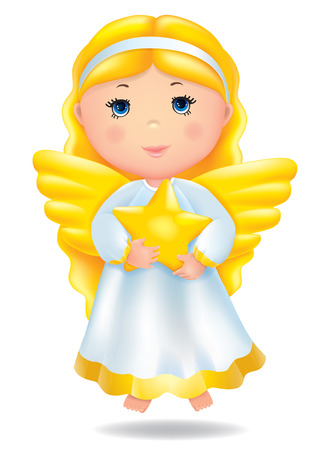 christmas angels: Angel with star. Contains transparent objects. EPS10 Illustration
