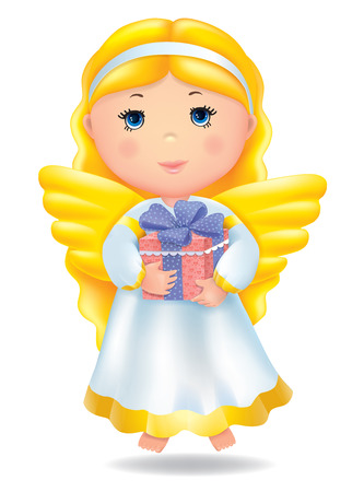 Angel with gift. Contains transparent objects. EPS10 Vector