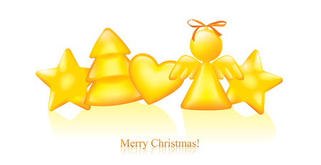 yellow star: Christmas greeting card.  Contains transparent objects. EPS10 Illustration