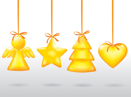 Golden Christmas toy. Contains transparent objects. EPS10 Vector