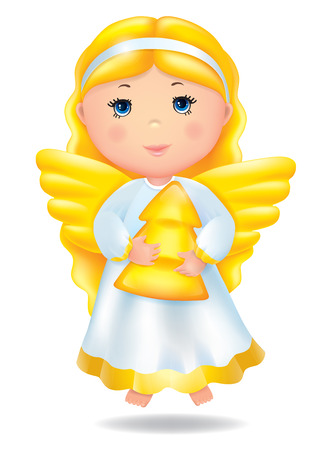 birthday angel: Angel with Christmas Tree. Contains transparent objects. EPS10