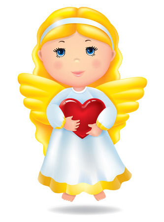 Angel with red heart. Contains transparent objects. EPS10 Vector