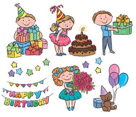 chocolate cake: Kids birthday. Contains transparent objects.  Illustration