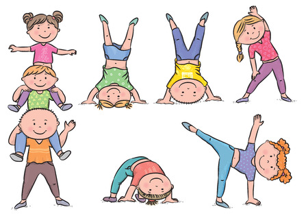 Kids aerobics. Contains transparent objects. Vettoriali