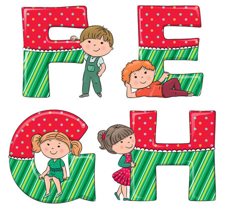 hair bow: Alphabet kids EFGH. Illustration