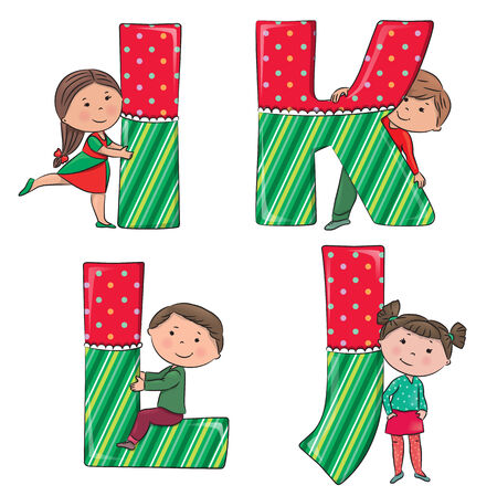 i kids: Alphabet kids IJKL.  Illustration