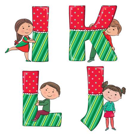 l boy: Alphabet kids IJKL.  Illustration