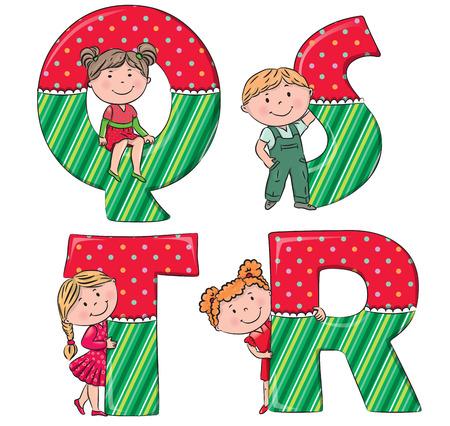 kid s illustration: Alphabet kids QRST.