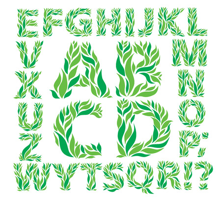 english culture: Alphabet green leaves. eps10 format.
