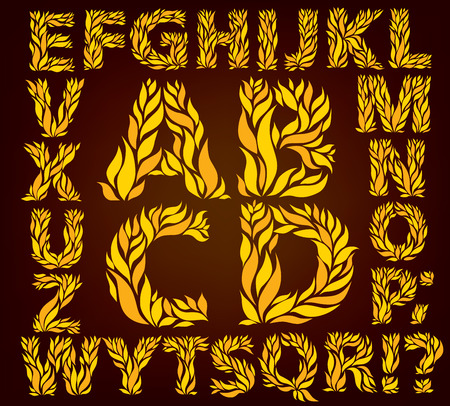 english culture: Alphabet  yellow leaves. eps 10 format.